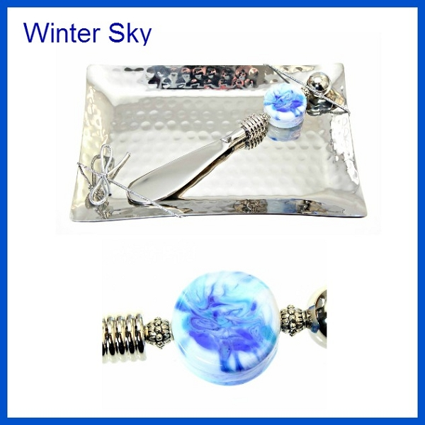 Winter sky canape knife hammered plate for Canape knife