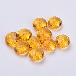 22mm Orange Faceted Acrylic Pillow - (5 Beads)
