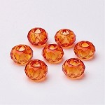 14mm Orange Faceted Rondell - (5 Beads)