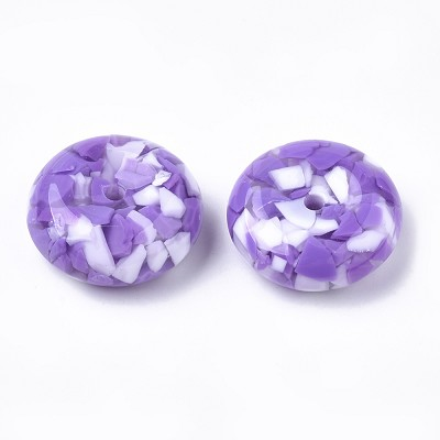 26mm Purple Marble Flat Saucer- (3 Beads)