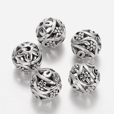 16mm Silver Vines - (3 Beads)