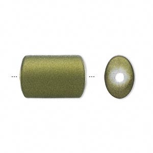 18mm Green Oval Tube - (10 Beads)