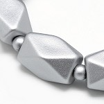 22mm SILVER  Rubberized Faceted Acrylic Tube - (5 Beads)