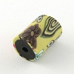 18mm Flower Tube  Polymer Clay (3 Beads)