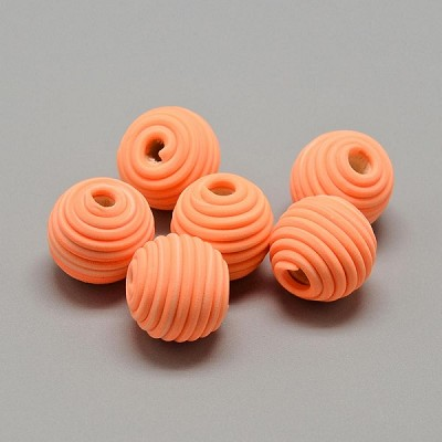 14mm Round Orange Polymer Clay (3 Beads)