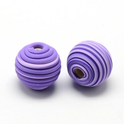 14mm Round Purple Polymer Clay (3 Beads)