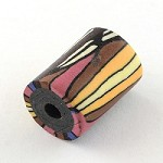 18mm Striped Tube  Polymer Clay (3 Beads)