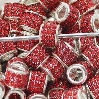 13 x 10mm Red Crystal Drum - (4 Pieces)