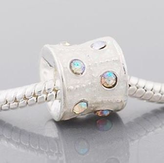 White Crystal Barrel  - (3 Beads)