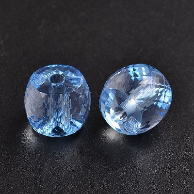 10mm Acrylic Faceted Light Blue  Drum - (10 Beads)
