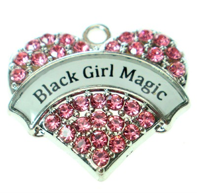 Black Girl Magic Crystal Pink Charm - (1 Bead)