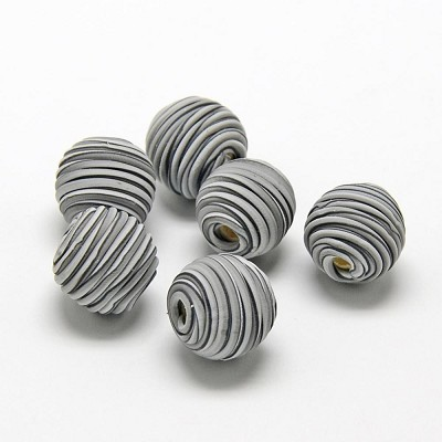 14mm Polymer Clay  Grey  - (3 Beads)