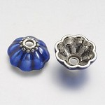 17mm Blue & Silver Bead Caps - (4 Pieces)