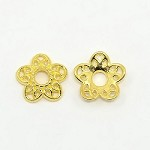 12mm Gold-Tone  Flower Bead Cap - (4 Pieces)