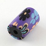 17mm Purple Polymer Clay Tube (5 Beads)