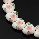18mm Porcelain Heart Bead (5 Beads)