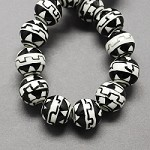 10mm Black and White Round Ceramic  (5 Beads)