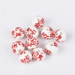 12mm Round Red and White Porcelain (5 Beads)