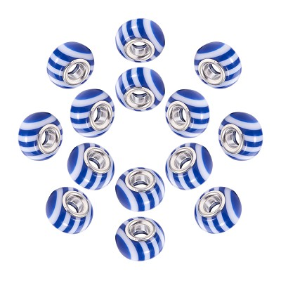 14mm Blue & White - (5 Beads)