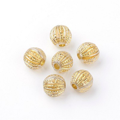 12mm  Acrylic Gold Ribbed Rounds - (10 Beads)