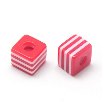 10mm Red Striped Resin - (5 Beads)