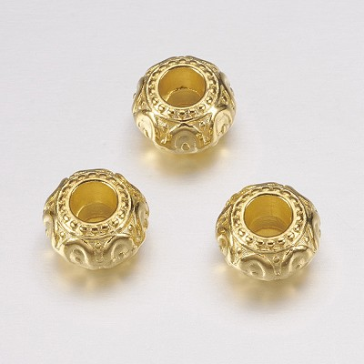 10mm Bright Gold Spacers - (5 Beads)