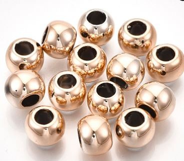 8mm Metalized Gold Rounds (10 Beads)