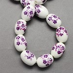 11mm Oval Purple & White Porcelain (5 Beads)