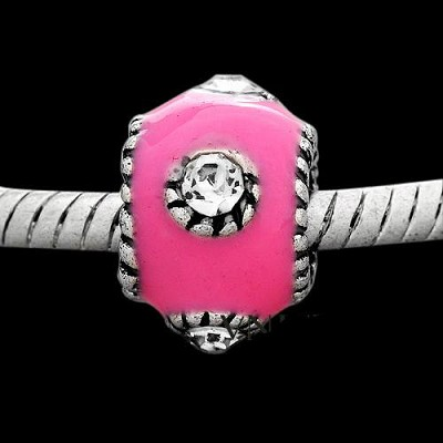 12mm Bright Pink Enamel - (5 Beads)