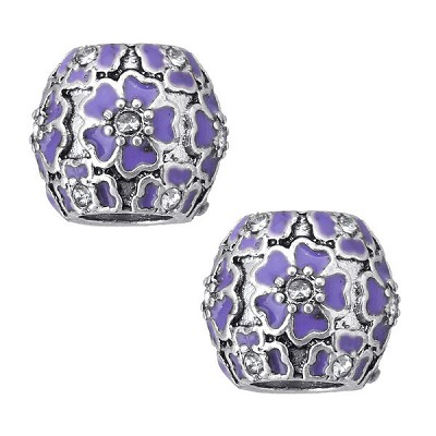 11mm Purple Flowers - (2 Beads)
