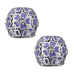 11mm Purple Flowers - (5 Beads)  - SORRY OUT OF STOCK