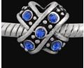 10mm Criss Cross Blue Crystal - (3 Beads)