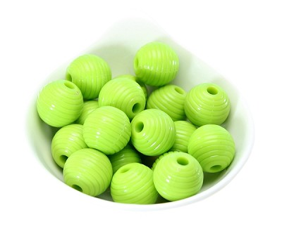18x19mm Painted Acrylic Ribbed Lime Green - (9 Beads)