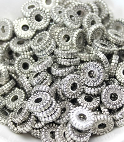 10mm Plastic Antique Silver Rondelle - (10 Beads)