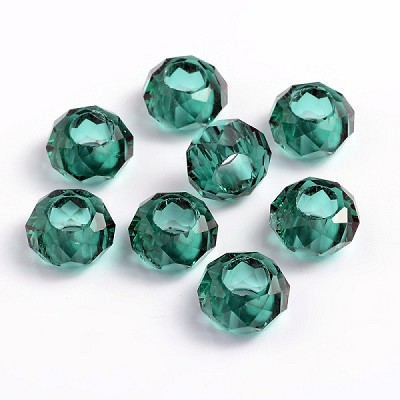 14mm Teal Green Faceted Rondell - (5 Beads)