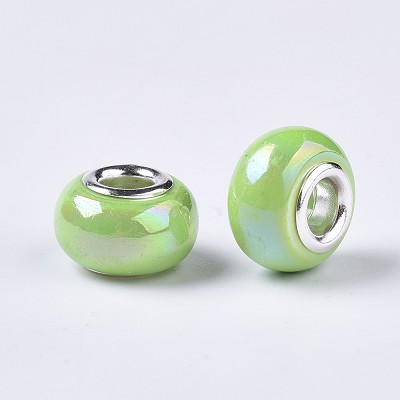 14mm Green Pearl Porcelain - (5 Beads)