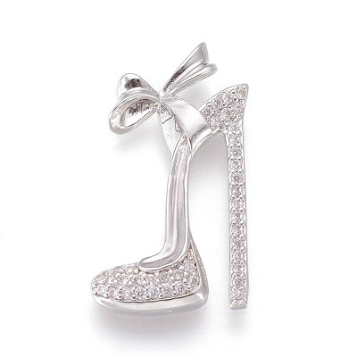 24mm Silver Stiletto with Crystals - (1 charm)
