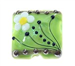 15mm Green Daisy Lampwork Bead