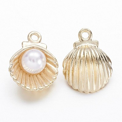 Gold Pearl Shell - (4 Charms)