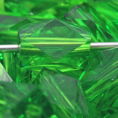22mm GREEN Acrylic Tube - (8 Beads)