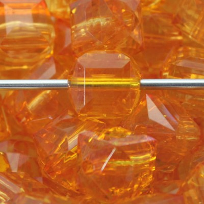 Orange  15mm Faceted Acrylic Cube - (5 Beads)