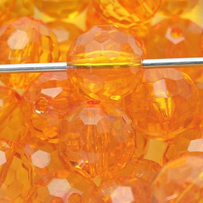 Orange Round 22mm Faceted  Acrylic - (5 Beads)