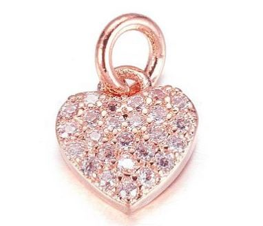 9mm Small Rosegold Crystal Heart Charm - (1 charm)