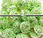15mm Blingy Lime Spaceship Crystal - (2 Beads)