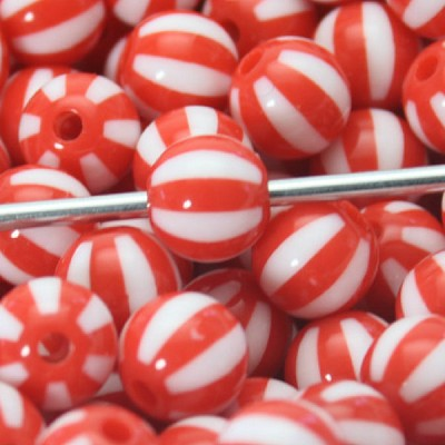12mm Peppermint Candy  - (5 Beads)