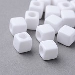 7mm White Acrylic- (10 Beads)   - SORRY SOLD OUT