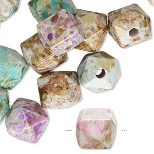 Acrylic Square Bead Mix - (10 Beads)