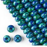 8x12mm Large Smooth Azurite Rondells - (1 Strand)