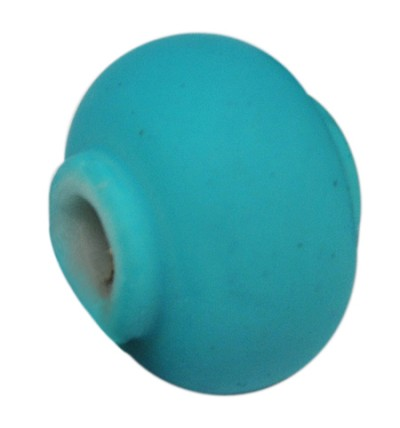 11mm Turquoise Rubberized - (10 Beads)