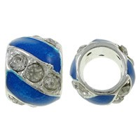 10x13mm Blue & Crystal  - (3 Beads)